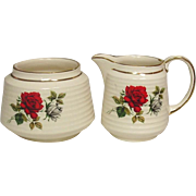 James Sadler and Sons, Ltd., England ~ Open Sugar and Creamer ~ Erwin Rose Decoration