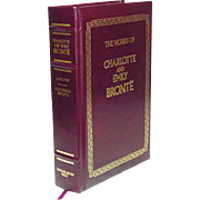The Works of Charlotte and Emily Bronte: Jane Eyre, Wuthering Heights ~ 1990, Longmeadow Press ~ Bonded Leather, Gilt Edges, Ribbon Bookmark