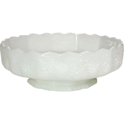 Fire-King Ware ~ Harvest Grape Pattern ~ White Glass ~ Footed Flower / Console Bowl ~ 10""