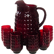 Anchor Hocking Glass ~ Bubble Pattern ~ Royal Ruby ~ Ice-lip Pitcher & 6 Juice Tumblers