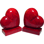Red Heart Bookends ~  Alabaster ~ Handcarved in Italy - Red Tag Sale Item