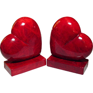 Red Heart Bookends ~  Alabaster ~ Handcarved in Italy