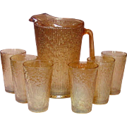 Jeannette Glass Company ~ Marigold Carnival ~ Ice-lip Pitcher and Tumblers ~ Tree Bark Variant