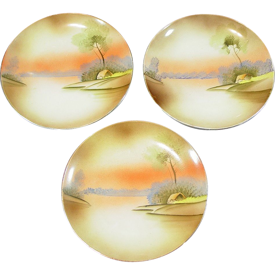 "3 Hand Painted Plates, 6 1/2"" ~ Meito China ~ Made in Japan"