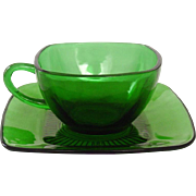 Anchor Hocking Glass ~ Charm Pattern ~ Forest Green ~ Cups & Saucers ~ Mid-Century
