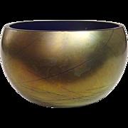 Art Glass ~ Steven Maslach ~ Glass Bowl ~ Iridescent Finish over Cobalt ~ Signed