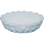 "Westmoreland Glass ~ 6"" Oval Nut Dish, Footed ~ Milk Glass"