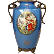 """Sevres Style Vase with Ormolu Stand ~ 13"""" ~ Gilt Decoration ~ Three Ladies Classical Scene"""