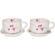 Syracuse China ~ Restaurant Ware ~ Trend Line ~ Floral Decoration ~ Cups and Saucers