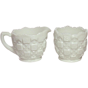Westmoreland Glass ~ Old Quilt Pattern ~ Large Creamer and Sugar ~ Milk Glass ~ 1978