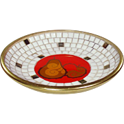 Mid Century Design ~ Mosaic Tile, Glass, and Anodized Aluminum Bowl ~ Mod Style