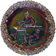 Fenton Art Glass ~ Amethyst Carnival Glass Collector Plate ~ Craftsmen of America Series ~ No. 1 ~ 1970 ~ Original Sticker