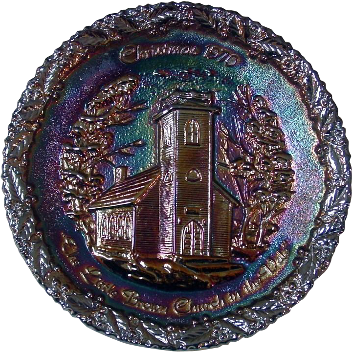 Fenton Art Glass ~Amethyst Carnival Glass Collector Plate ~ Christmas in Amcerica Series ~ No. 1
