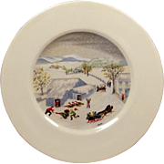 "Grandma Moses Limited Edition Plate ~ Atlas China ~ ""Catching the Thanksgiven Turkey"" ~ Mid-Century"