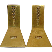 Vintage Brass Bookends ~ Lederle Pharmaceuticals Plaque with Caduceus ~ 1970's