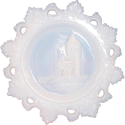 "Westmoreland Glass ~ Opal Milk Glass Plate ~ Ancient Castle ~ 7 1/2"" ~ Scarce Grossman Mark"