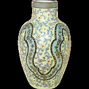 Moser Glass ~ Bohemian Opaline Glass Vase ~ Handpainted, Enamel Jeweling ~ 19th Century