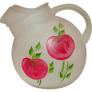 Anchor Hocking Glass ~ Tilt Ball Pitcher ~ Hand Painted Tomatoes ~ Frosted Glass ~ Mid-Century