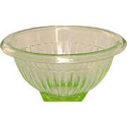 "Green Depression Glass ~ Paneled Pattern Mixing Bowl ~ 7 1/2"" ~ Anchor Hocking"