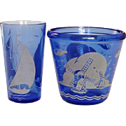 "Hazel-Atlas Glass Company ~ ""Ships"" of ""Sailboat"" Ice Tub and Tumbler ~ Late 1930's ~ Cobalt Depression Glass"