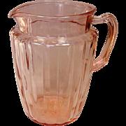 Depression Glass ~ Anchor Hocking ~ Pillar Optic Pattern ~ Pitcher, Pink ~ 1937-1942