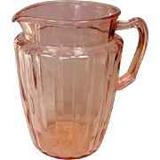 Depression Glass ~ Anchor Hocking ~ Pillar Optic Pattern ~ Pitcher, Pink ~ 1937-1942