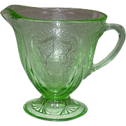 Depression Glass ~ Hazel-Atlas Glass ~ Royal Lace Pattern ~ Creamer ~ Green