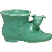 Mid-Century ~ Pottery Planter ~ Puppy and Shoe ~ USA