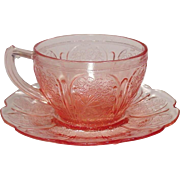 Depression Glass ~ Cups and Saucers ~  Jeannette Glass ~Cherry Blossom Pattern ~ Pink ~ Depression Glass