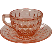 "Depression Glass ~ Windsor, ""Windsor Diamond"" Pattern ~ Jeannette Glass ~ Cup & Saucer ~ Pink"