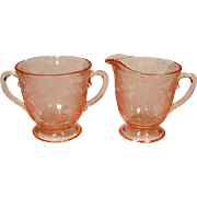 Depression Glass ~ MacBeth-Evans Glass Company ~ Dogwood Pattern ~ Creamer & Sugar ~ 1929-1932