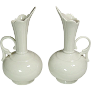 "Porcelain Vases ~ Ewer Shape ~ White ~ 7 1/2"" ~ a Pair"