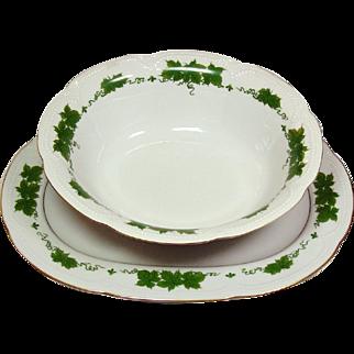 Graf von Henneberg Porcelain ~ Wienlaub Pattern ~ Oval Platter & Vegetable Bowl ~ Bavaria, Germany