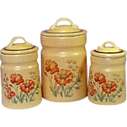 Treasure Craft USA ~ Wildflower Pattern Canisters ~ Small, Medium, Large
