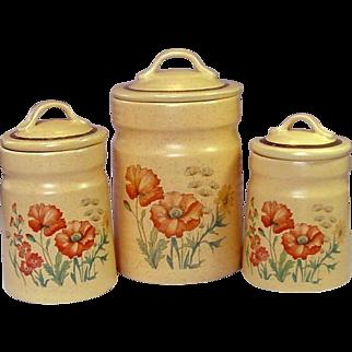 Treasure Craft USA ~ Wildflower Pattern Canisters ~ Small, Medium, Large