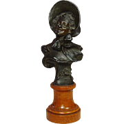 "Bronze Bust on Wood Pedestal ~ Smiling Lady with Hat ~ Signed, R. Allard ~ Circa 1900 ~ ""Rose"""