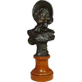 """Bronze Bust on Wood Pedestal ~ Smiling Lady with Hat ~ Signed, R. Allard ~ Circa 1900 ~ """"Rose"""""""