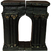 "Cast Iron Bookends ~ Arch Shape ~ Black with Gilt Trim ~ 7.5"" ~ Early 20th Century"