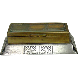 Egyptian Revival or Art Deco Stamp Box ~ Beveled Glass, Brass & Steel ~ Circa 1900