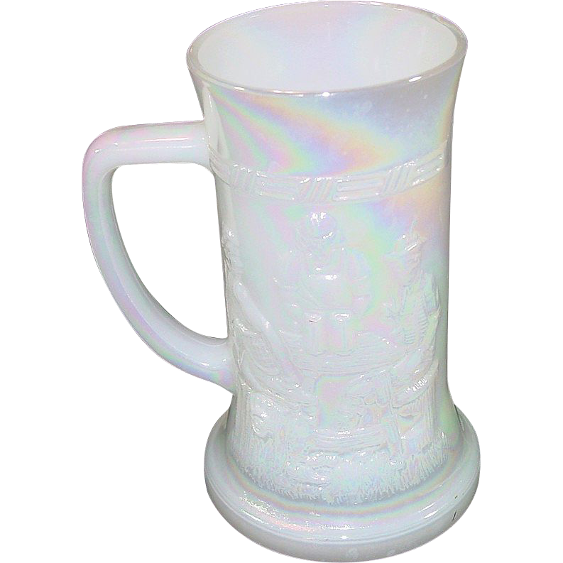 Federal Glass Company ~ Milk Glass Beer Stein ~ Moonglow finish (iridescent) ~ 1960's