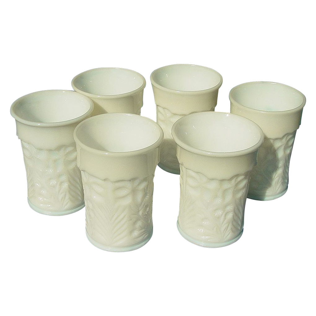Six Vintage Milk Glass Tumblers - L. E. Smith Company - Dogwood Pattern