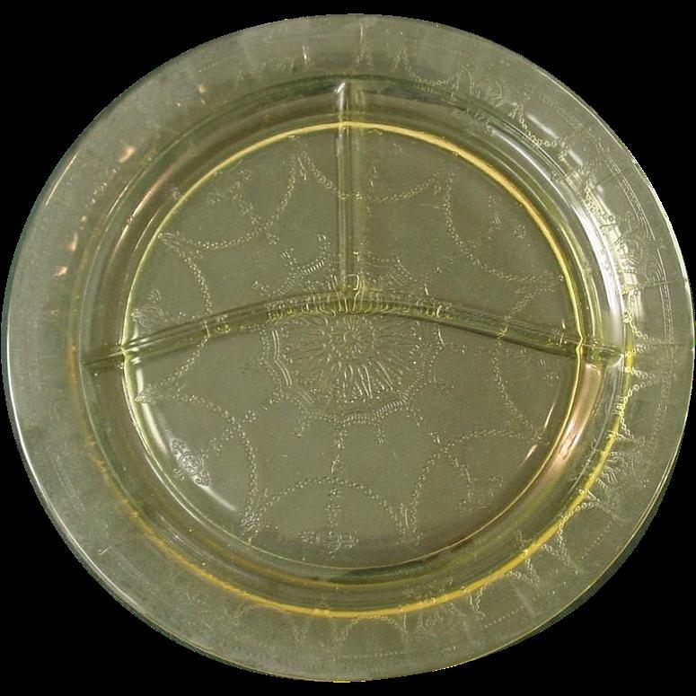"Depression Glass, Ballerina, Hocking Glass, 10 1/2"" Grill Plates, Yellow, 1930-34"