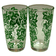 Hazel Atlas Glass Company ~ Four Tumblers ~ Green Leaf Pattern