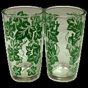 Hazel Atlas Glass Company ~ Four Tumblers ~ Green Leaf Pattern