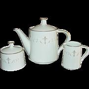 Noritake China, Teapot, Creamer, Sugar Set, Courtney Pattern, Mid-Century