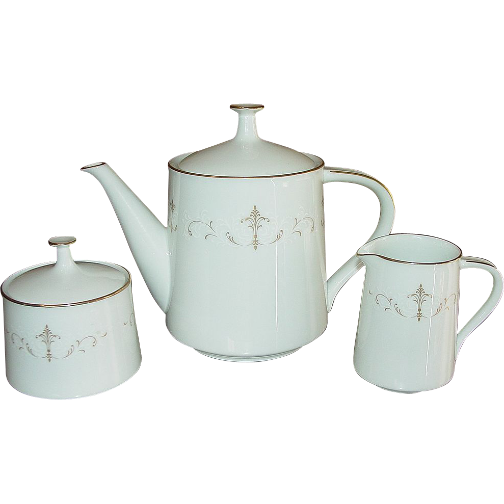 Noritake China, Teapot, Creamer, Sugar Set, Courtney Pattern, Mid-Century