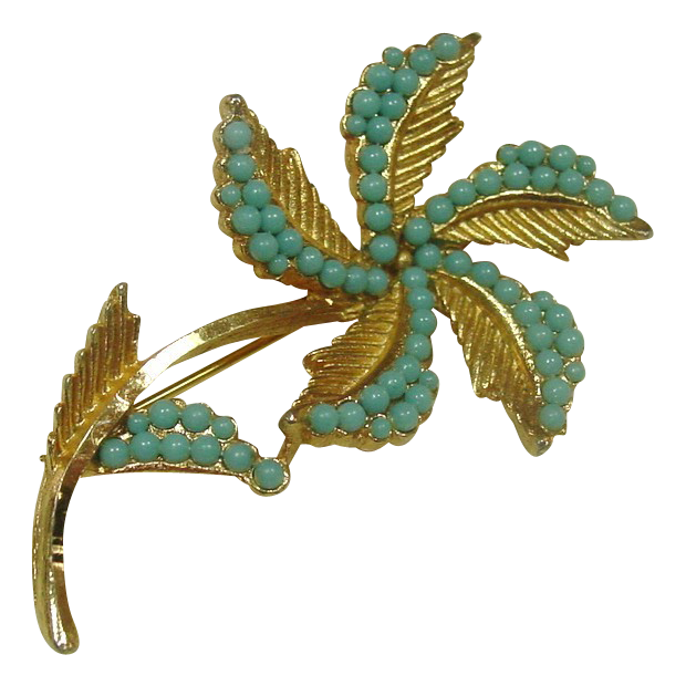 B.S.K. Pin ~ Goldtone metal and Turquoise color stones