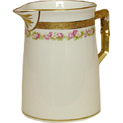 Royal Bayreuth Creamer ~ Bavaria ~ Fine Porcelain ~ Gold and Roses Decoration, Gilt Trim
