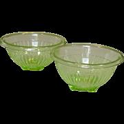 "Paneled Green Depression Mixing Bowls ~ 7 1/2"" & 8 1/2"" ~ Hocking Glass"