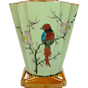 Handpainted Lusterware Vase ~ Deco ~ Bird & Blossoms ~ Made in Japan